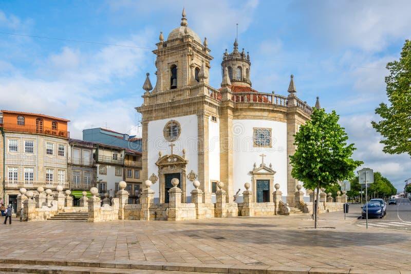在巴塞卢斯-葡萄牙的教会Bom耶稣da Cruz的看法 免版税库存照片
