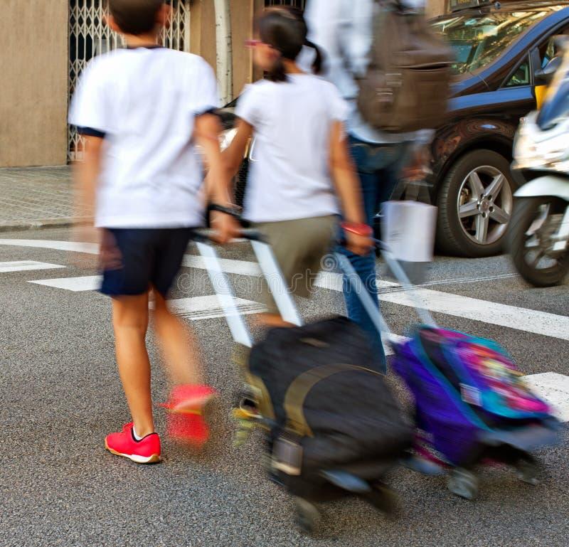 在巴塞罗那上街道  库存图片