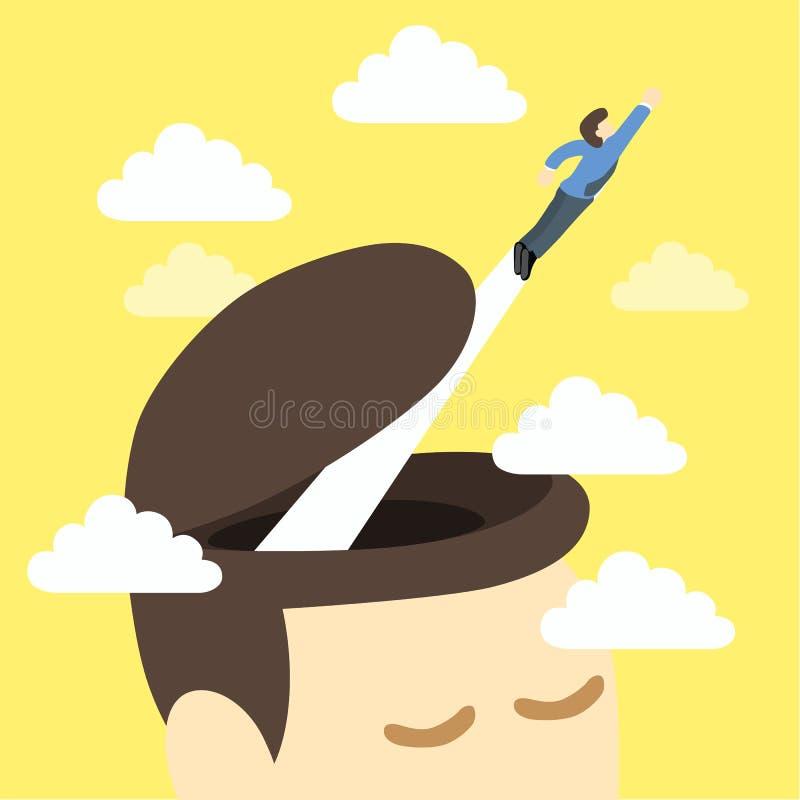 在头外面的自由聪明的人飞行 库存例证