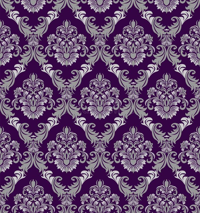 在维多利亚女王时代的样式的无缝的锦缎墙纸设计的 皇族释放例证