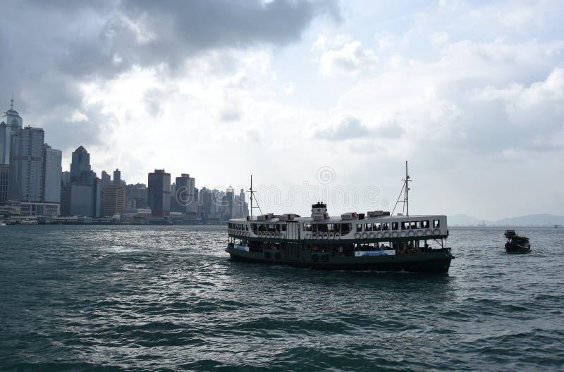 在维多利亚港的星轮渡在香港 免版税库存照片