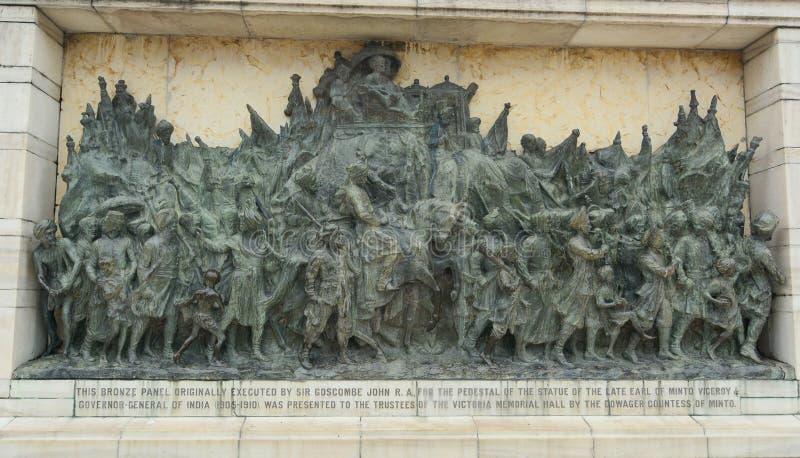 在维多利亚纪念品的古铜色纪念盘区 图库摄影