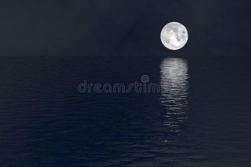 在水夜场面背景的满月 库存照片