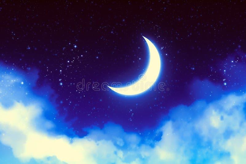 在蓝色满天星斗的天空的幻想新月形月亮有云彩背景 id.图片