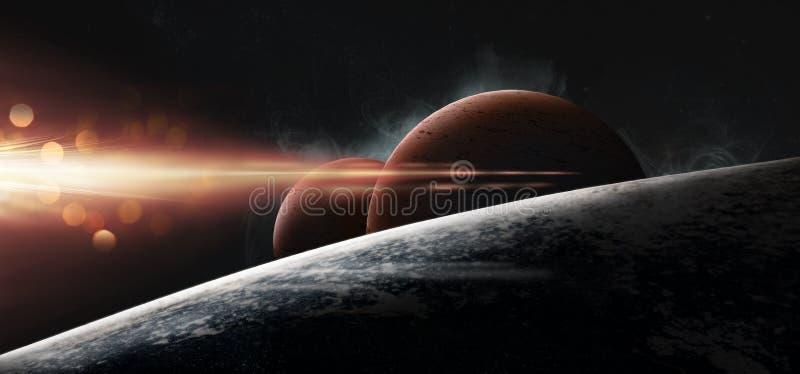在满天星斗的背景的行星 皇族释放例证
