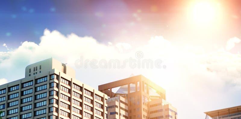 在晴天期间,太阳田园诗看法的综合图象在云彩的 库存例证