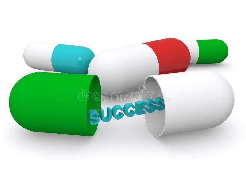 在医学胶囊的成功 库存例证
