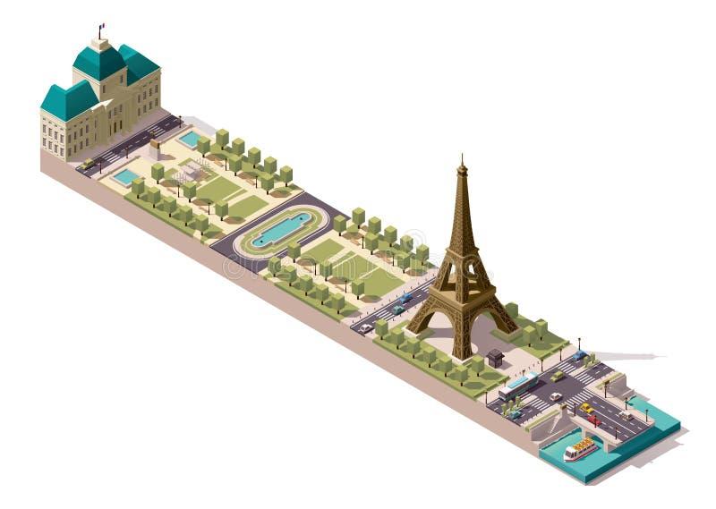 在巴黎导航战神广场的等量地图 向量例证