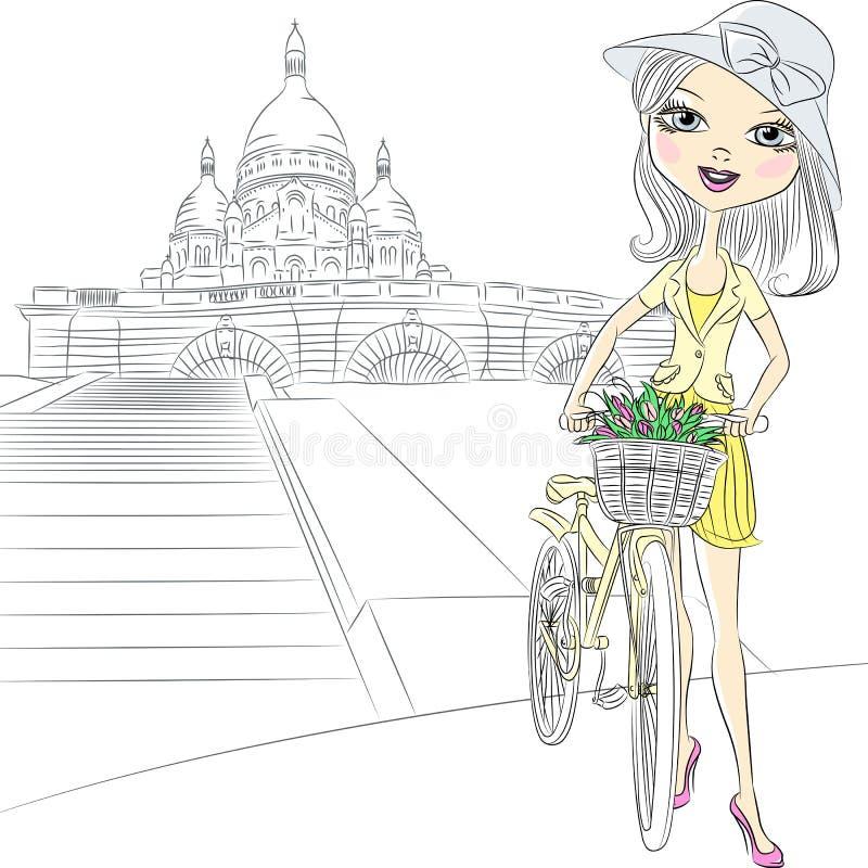 在巴黎导航有的美丽的女孩花 向量例证