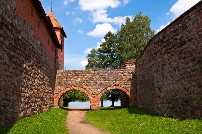 在维尔纽斯,立陶宛附近的中世纪特拉凯城堡。 免版税库存图片