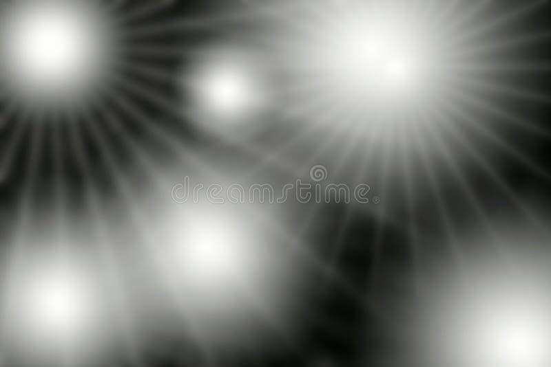 在黑屏幕背景的透镜白色火光光 库存图片