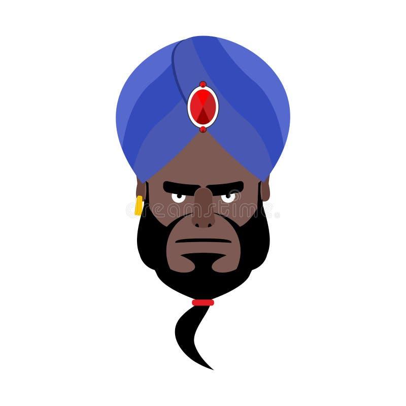 在头巾恼怒的Emoji的印地安面孔 印度罪恶emotio的顶头人 向量例证