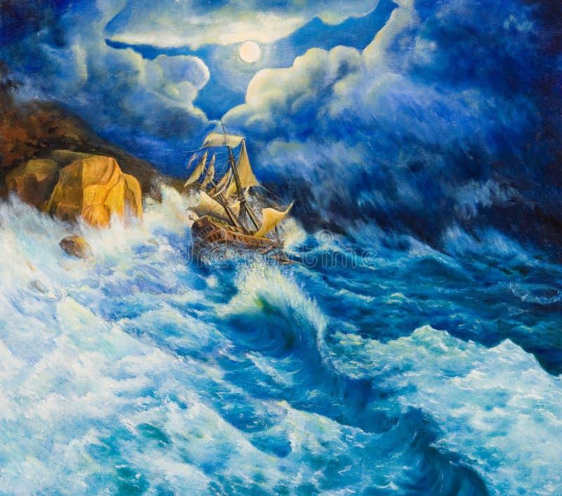 在画布的油画 海难 向量例证