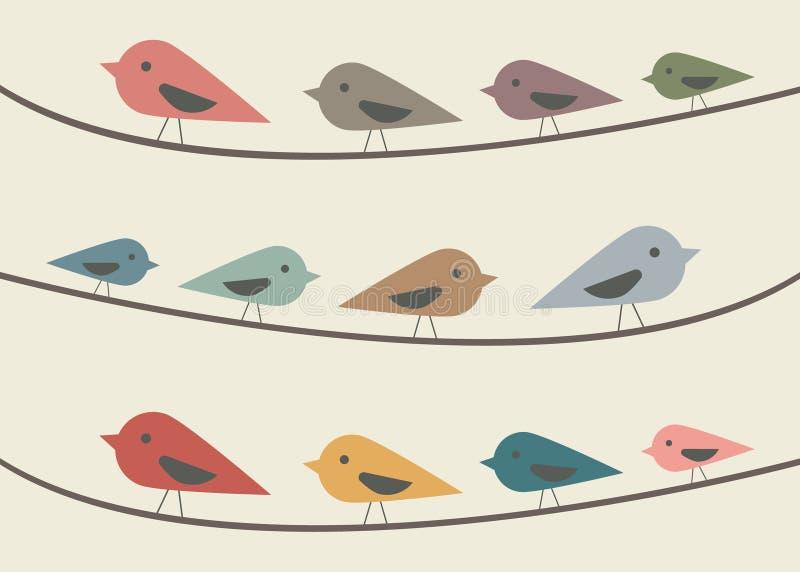 在水平的导线的鸟 免版税库存图片