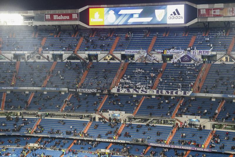 在2016年在一次皇家马德里比赛期间的伯纳乌球场 库存照片