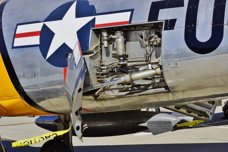 在2016年在莫哈韦沙漠的美国空军北美洲F-86马刀战斗机 免版税库存图片