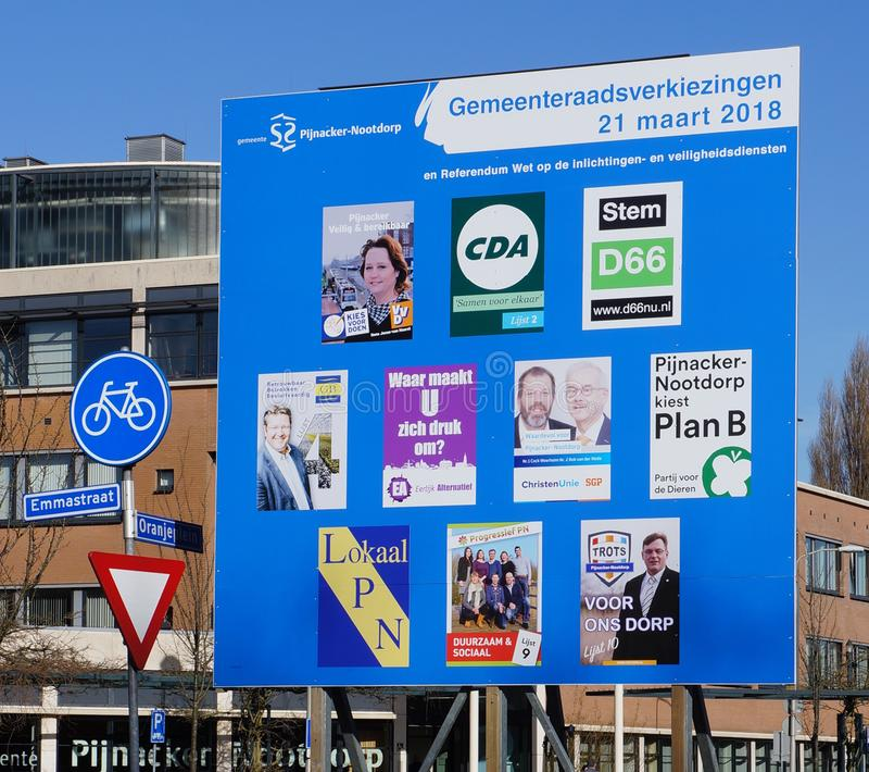在2018年市政理事会的竞选的广告牌在荷兰 库存图片