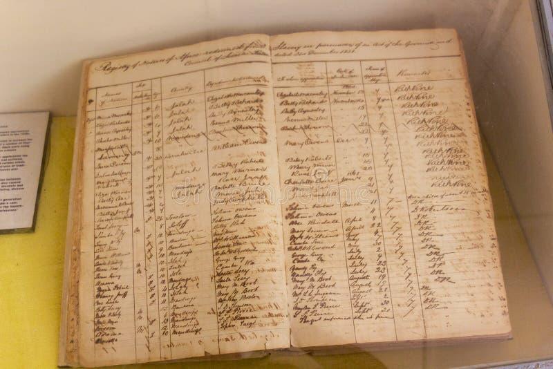 在1860年的与贩卖奴隶的登记簿发生 免版税库存照片