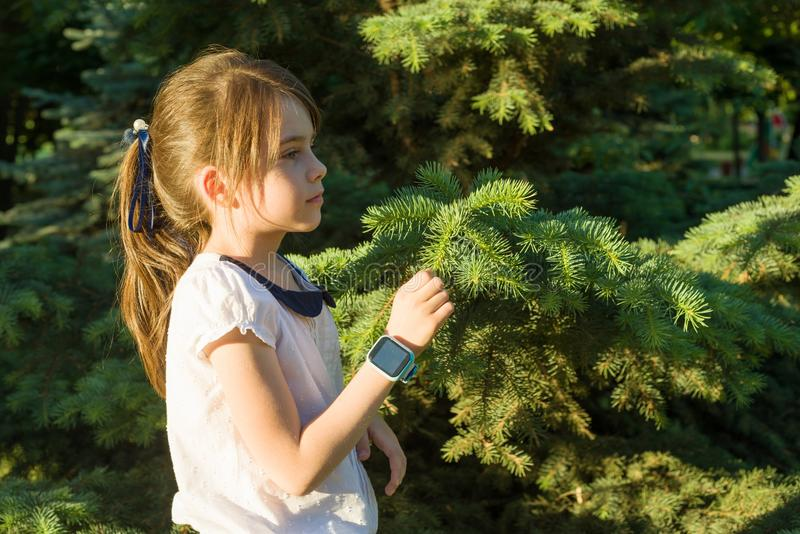 在7年的女孩的档案的室外画象 复制空间,背景绿色树 库存照片