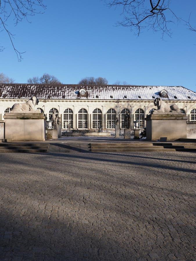 在2019年老橘园门面浴的在华沙欧洲波兰的首都停放在2月 免版税库存照片