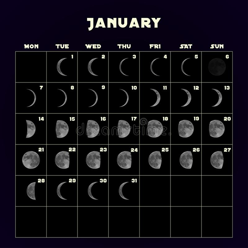 在2019年虚度阶段日历与现实月亮 1月 向量 向量例证
