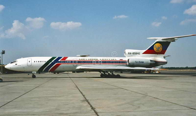 在2010年达吉斯坦航空公司图波列夫TU-154M在莫斯科 库存图片