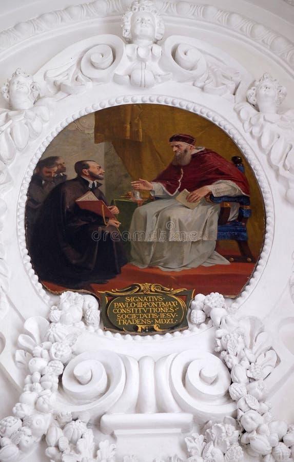 在1540年阴险的人秩序的组织的伊格内修斯'计划由保禄三世,圣弗朗西斯批准泽维尔的教会在卢赛恩 库存照片