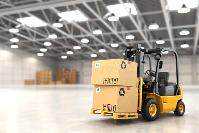 在仓库或存贮装货纸板箱的叉架起货车 库存例证