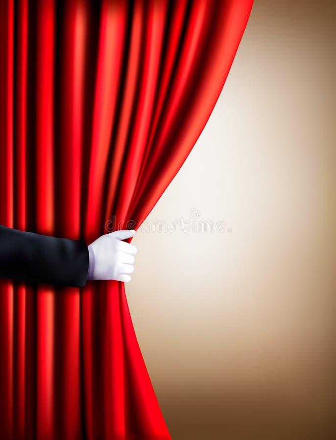 在离开帷幕的一副白色手套的手 剧院 皇族释放例证