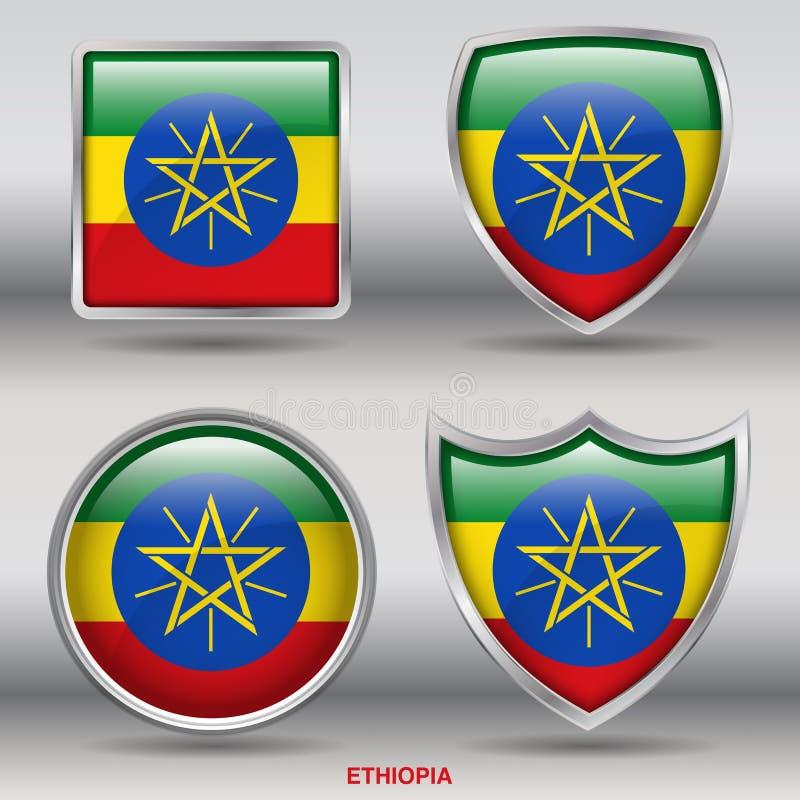 在4形状汇集的埃塞俄比亚旗子与裁减路线 向量例证