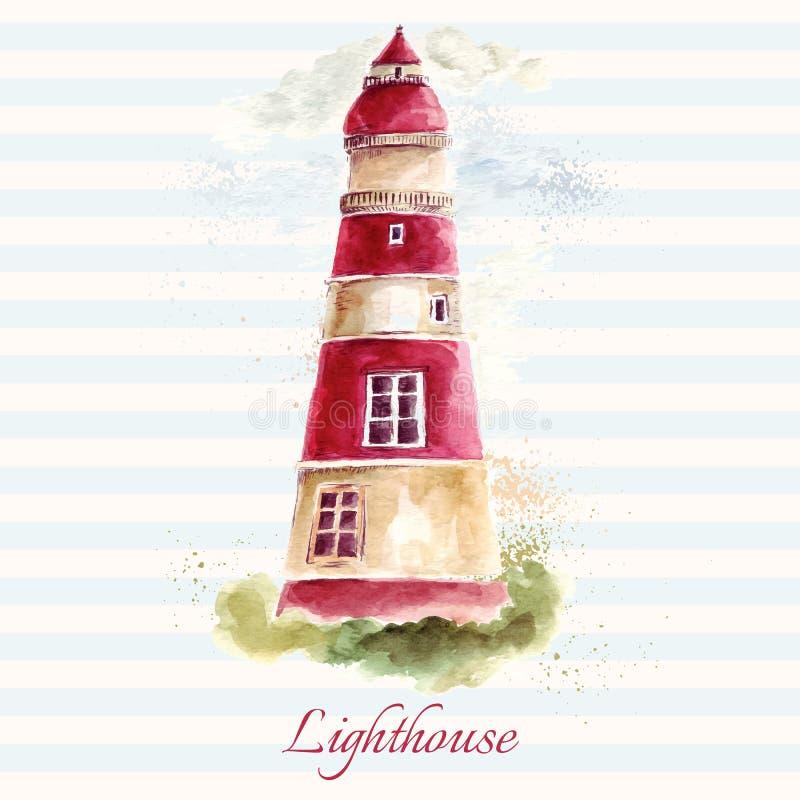 在水彩技术的灯塔 向量例证