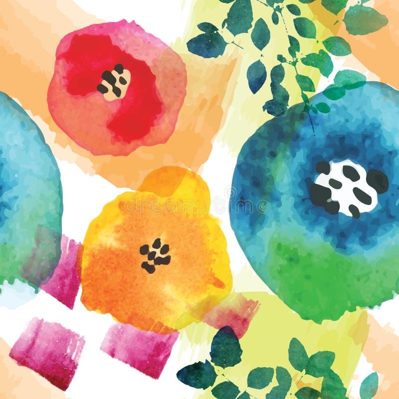 在水彩技术的现代花卉无缝的样式 皇族释放例证