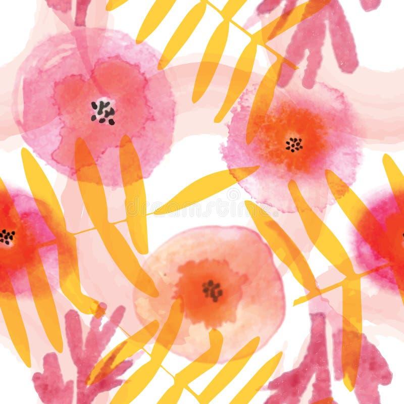 在水彩技术的现代花卉无缝的样式 向量例证