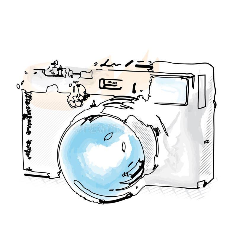 在水彩样式的减速火箭的照相机例证 向量例证