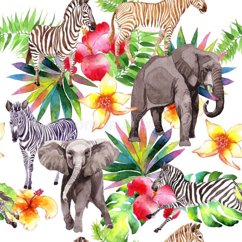 在水彩样式的异乎寻常的斑马和大象野生动物样式 库存例证