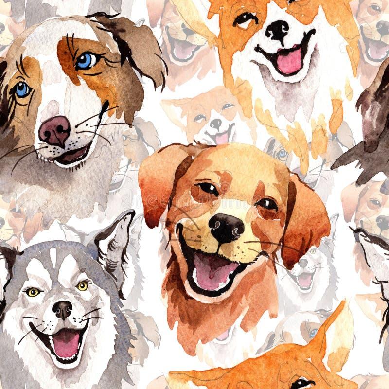在水彩样式的异乎寻常的狗野生动物样式 皇族释放例证