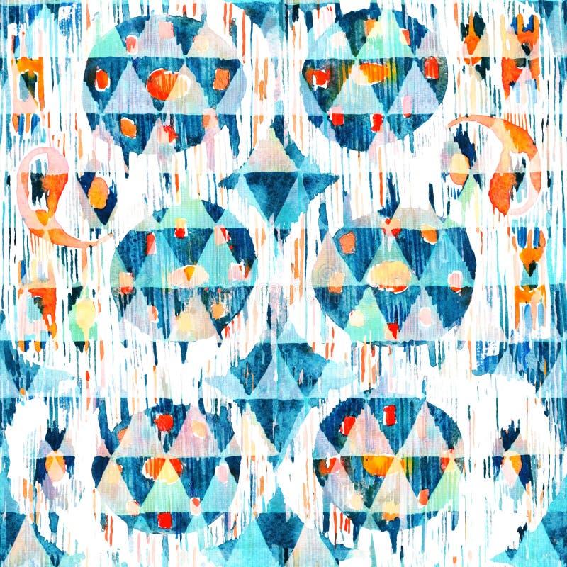 在水彩样式的Ikat无缝的漂泊种族样式 水彩东方人装饰品 向量例证