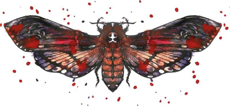在水彩的蝴蝶免票的人 向量例证