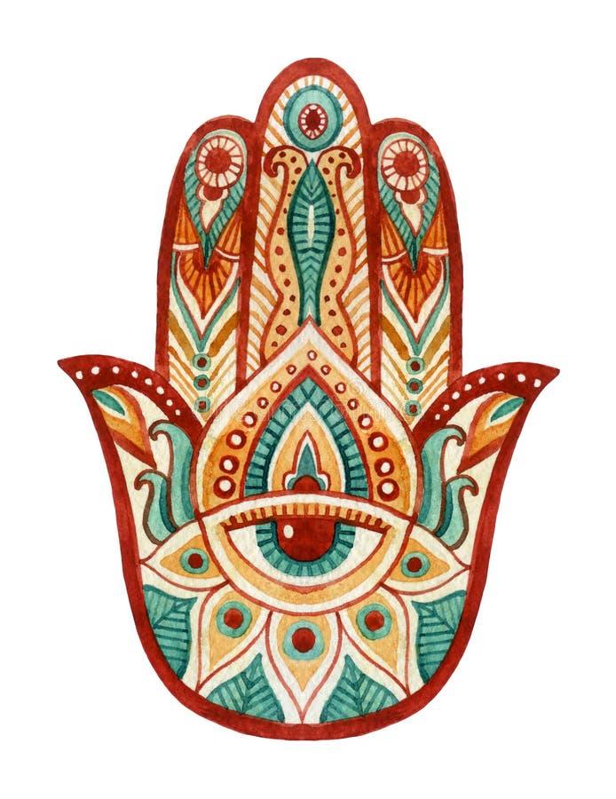 在水彩的Hamsa手 在印地安人,阿拉伯犹太文化的防护和好运护身符 在生动的颜色的Hamesh手 库存例证