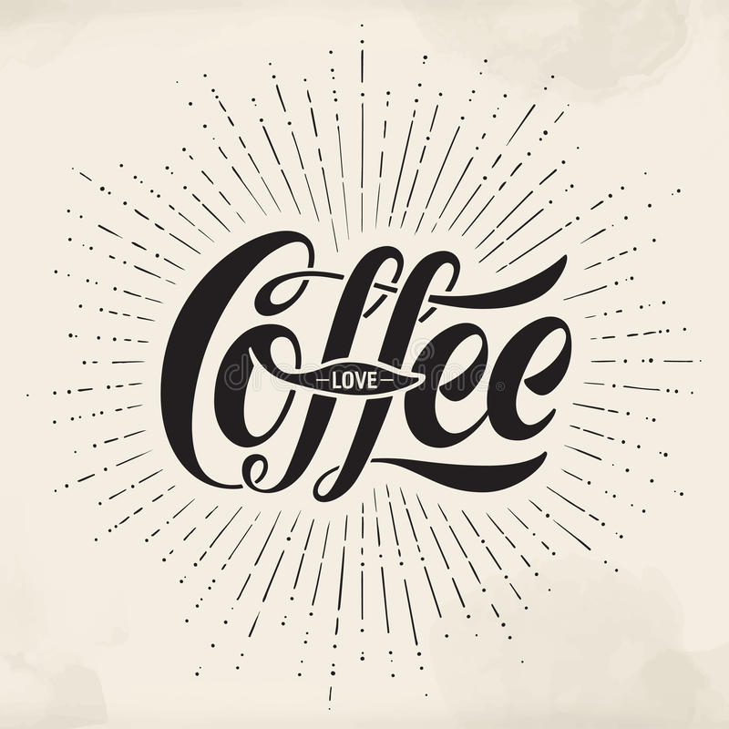 在水彩背景的手拉的字法题字咖啡爱 印刷和书法 皇族释放例证