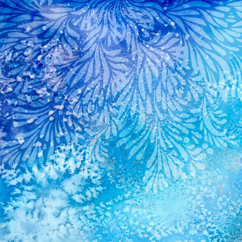在水彩背景的蓝色花设计 库存例证