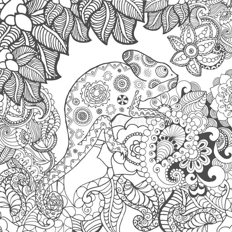 在幻想花的变色蜥蜴 向量例证