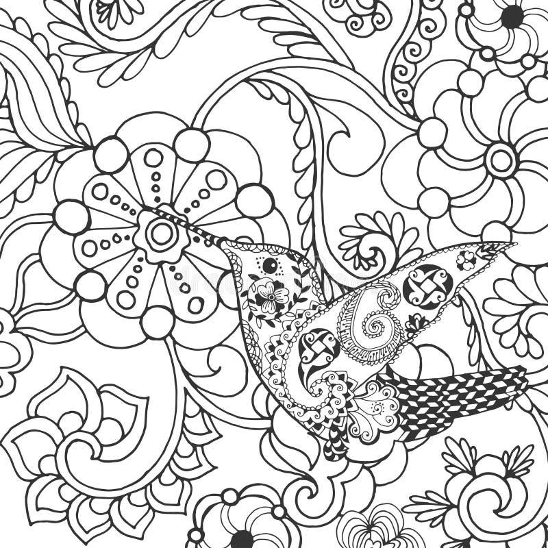 在幻想花的蜂鸟 皇族释放例证