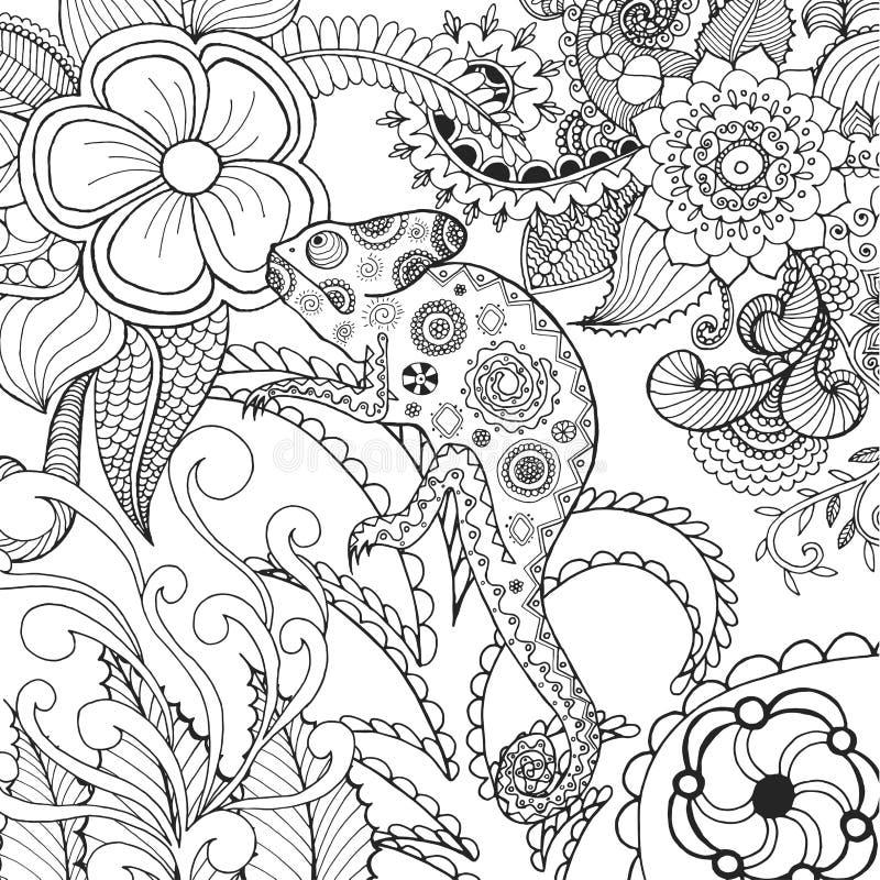 在幻想花的逗人喜爱的变色蜥蜴 向量例证