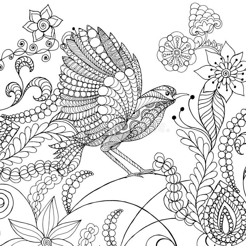 在幻想花的鸟 库存例证