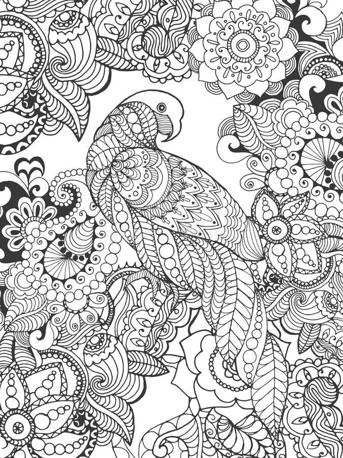 在幻想花的鹦鹉 库存例证
