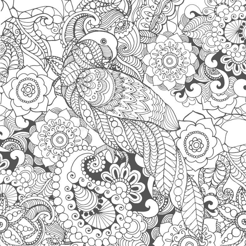 在幻想花的鹦鹉 皇族释放例证