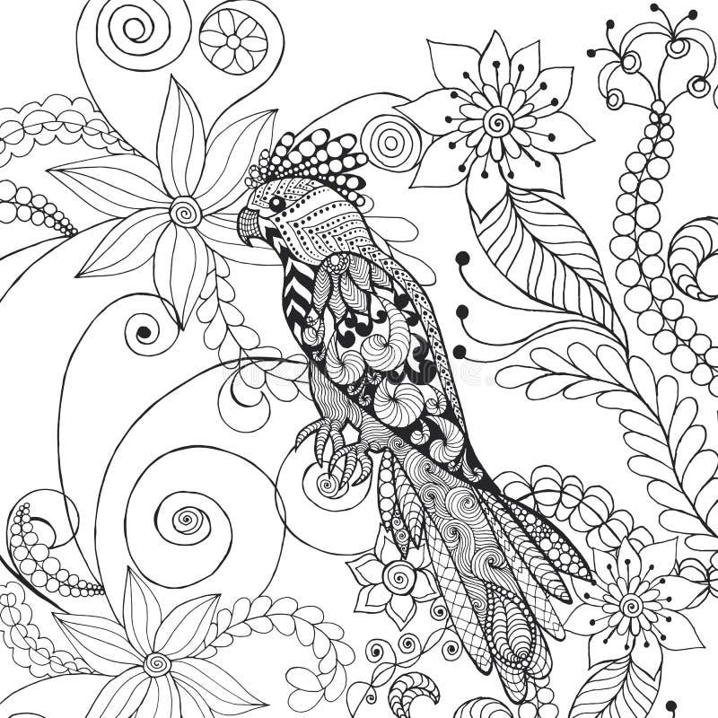 在幻想花的鹦鹉 向量例证