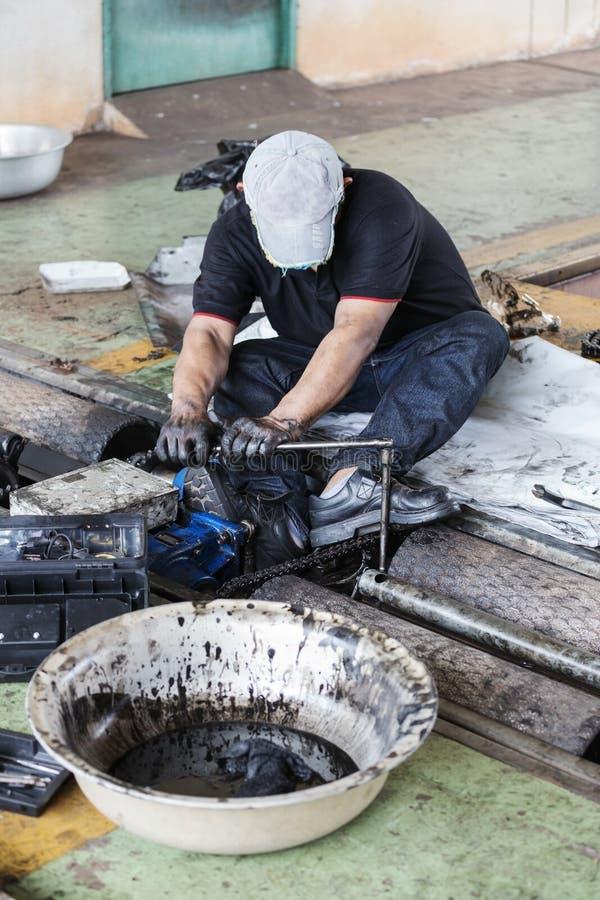 在维护wo期间,拿着板钳的安装工和拉紧和 库存图片