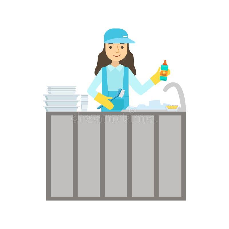 在轻拍,在一致的清洁的清洗的服务专业擦净剂的女孩洗涤的盘在家庭 皇族释放例证